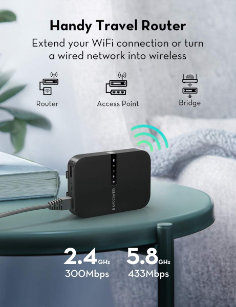 Router Wireless Portabil - Filehub RavPower RP-WD009 5 in 1, Cititor Carduri, Travel Router Backup, Baterie Externa 6700mAh 6