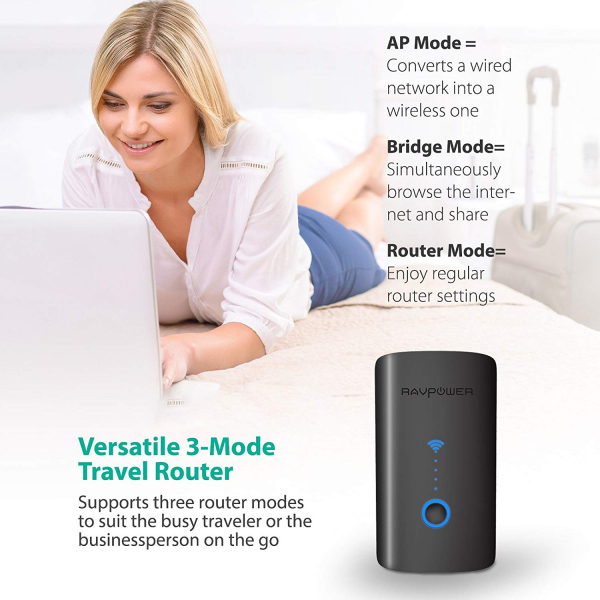 Router Wireless Portabil - Filehub RavPower RP-WD03, Cititor Carduri, Baterie Externa 6000mAh 6