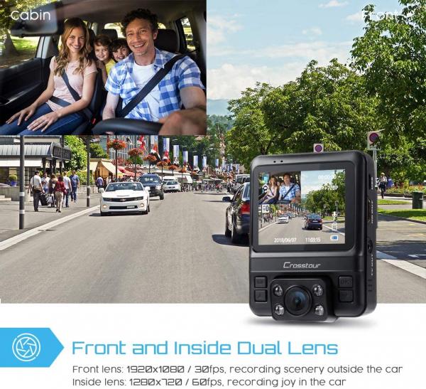 Camera auto DVR Dubla Crosstour CR750, GPS, Full HD,  Bord si Interior, Unghi 170 grade, Night Vision, WDR, G-Sensor, Mod parcare, Filmare in bucla [3]