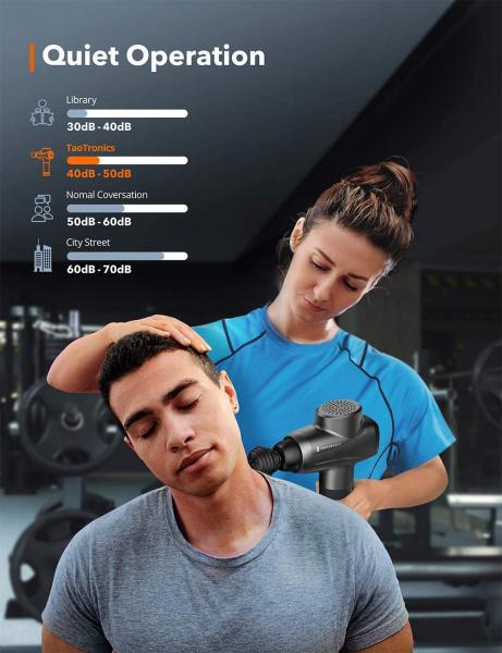 Aparat de masaj Gun Profesional TaoTronics TT-PCA003, 6 capete interschimbabile, 10  trepte de viteza 6