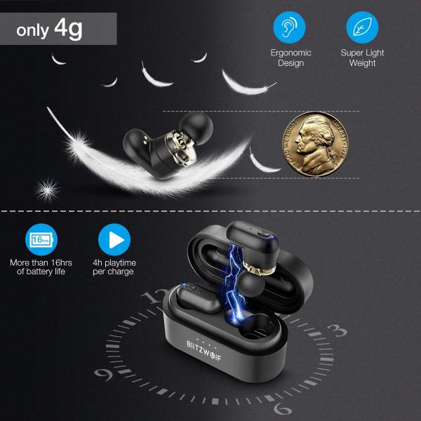 Casti TWS Bluetooth 5.0  True Wireless Blitzwolf BW-FYE7, Dual Dynamic Driver, Bas puternic stereo - Resigilat [9]