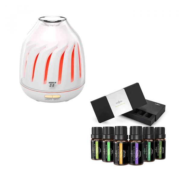Pachet Difuzor aroma cu Ultrasunete TaoTronics TT-AD007, cu Set 6 uleiuri esentiale Anjou 0
