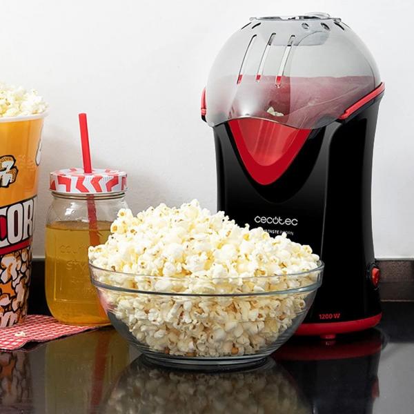 Aparat de facut popcorn, CECOTEC 3040, 1200 W, fara ulei, tehnologie bazata pe aer cald, preparare in max. 2 min, dozator boabe inclus, negru/rosu [1]