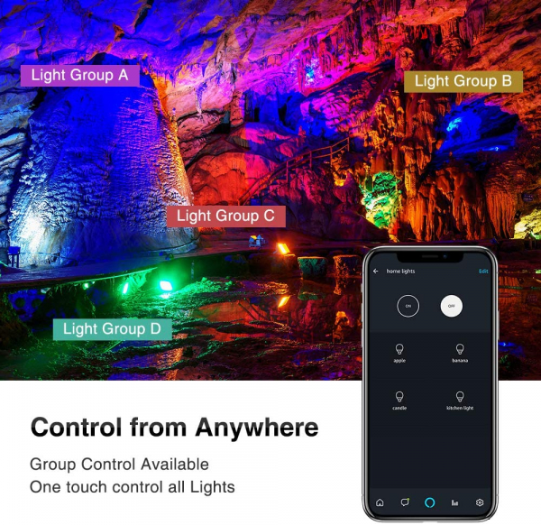 Set 2 proiectoare de podea LED RGB Novostella, Smart, Wifi, Alexa,Google , 20W, Exterior IP66 waterproof 7