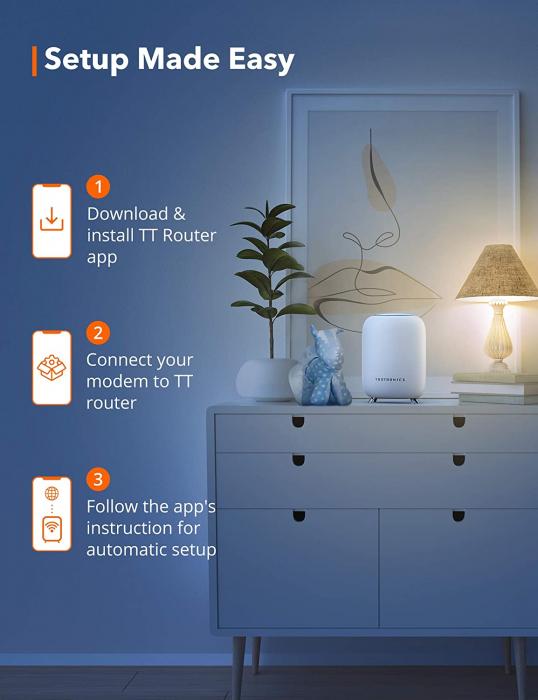 Sistem Wi-Fi Mesh Taotronics Tri-Band (2-pack) AC3000 Gigabit cu acoperire completa pentru casa 4