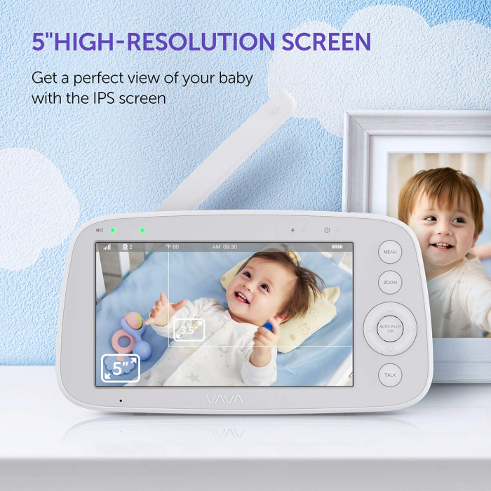 Baby Monitor Video pentru bebelusi VAVA VA-IH006, Display 5 inch, Raza 300 m, 720P, Night Vision, Alarma, Temperatura, Unghi larg, Zomm, Control directional 4