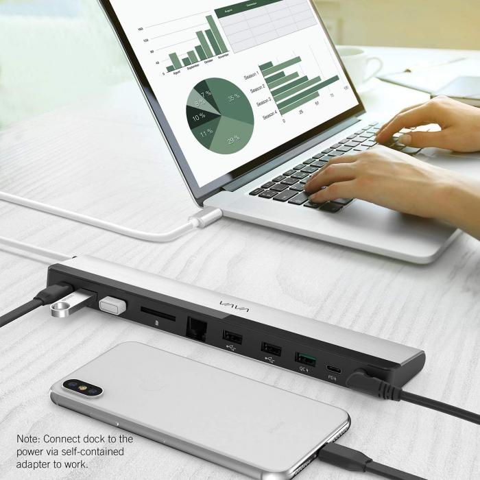 Adaptor 10 porturi Docking Station VAVA VA-DK002, Ethernet, SD Card, USB, QC, PD, pentru MacBook Pro si USBC [6]