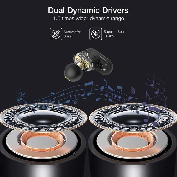 Casti TWS Bluetooth 5.0  True Wireless Blitzwolf BW-FYE7, Dual Dynamic Driver, Bas puternic stereo [2]