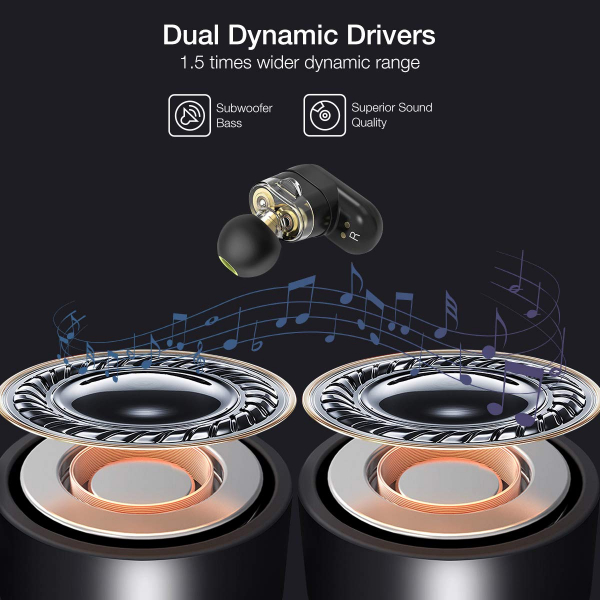 Casti TWS Bluetooth 5.0  True Wireless Blitzwolf BW-FYE7, Dual Dynamic Driver, Bas puternic stereo - Resigilat [2]