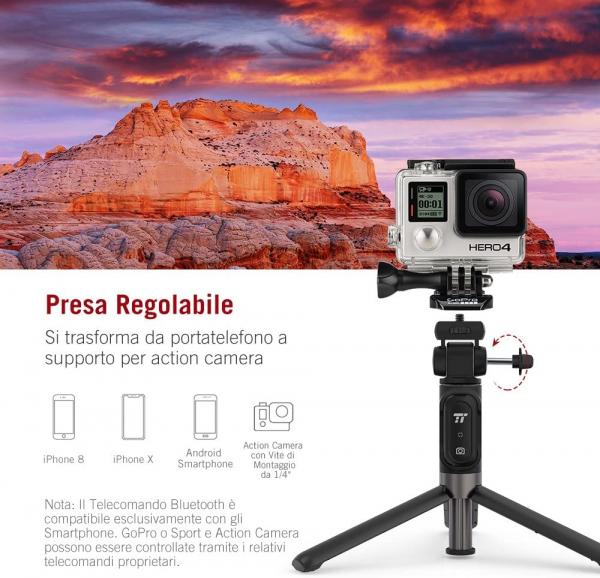 Selfie Stick Tripod TaoTronics TT-ST002, 3 in 1 cu Telecomanda Bluetooth detasabila 3
