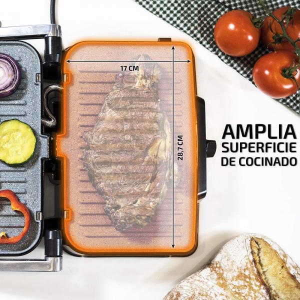 Grill 2 in 1, Rock'nGrill, Cecotec 1500 Take&Clean, 1500W, regulator de putere, piatra antiaderenta, gratar electric si aparat de facut sandvisuri - Resigilat [2]