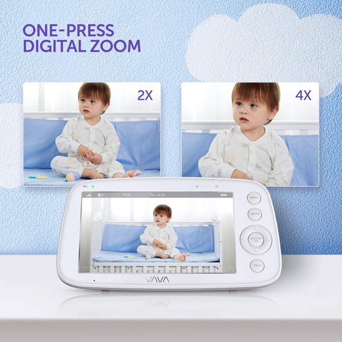 Baby Monitor Video pentru bebelusi VAVA VA-IH006, Display 5 inch, Raza 300 m, 720P, Night Vision, Alarma, Temperatura, Unghi larg, Zomm, Control directional 5