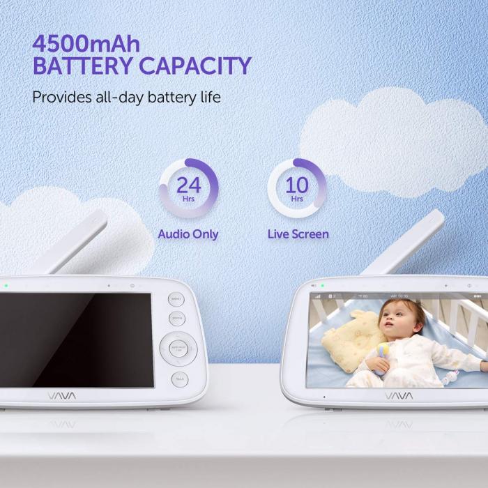 Baby Monitor Video pentru bebelusi VAVA VA-IH006, Display 5 inch, Raza 300 m, 720P, Night Vision, Alarma, Temperatura, Unghi larg, Zomm, Control directional 6