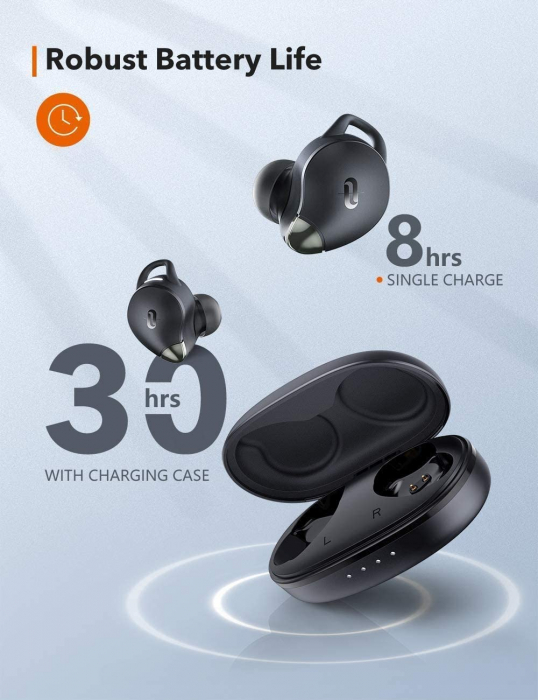 Casti wireless TaoTronics SoundLiberty 79 TWS, sunet puternic si clar,  Smart AI Noise Reduction Technology, 30 ore, IPX8, USB-C [6]