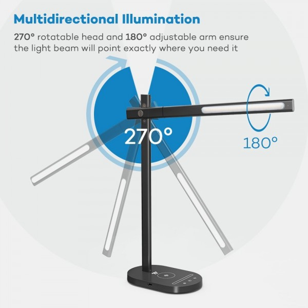 Lampa de birou LED TaoTronics TT-DL31, protectie ochi, control touch, Incarcare Telefon Wireles si USB 7