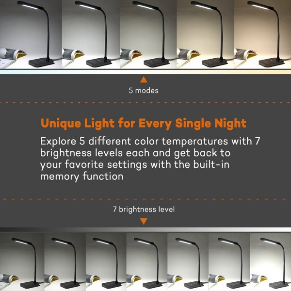 Lampa de birou LED TaoTronics TT-DL11 control Touch, 5 moduri, protectie ochi, 7W 8