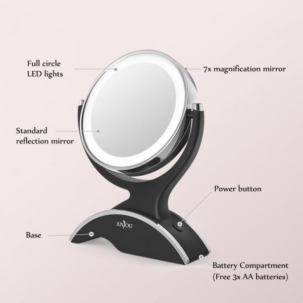 Oglinda cosmetica Anjou iluminata LED, 2 fete, Marire 7X 8