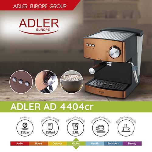 Espressor profesional ADLER AD 4404, 850W, 15 bar, 1.6l, Aramiu 1