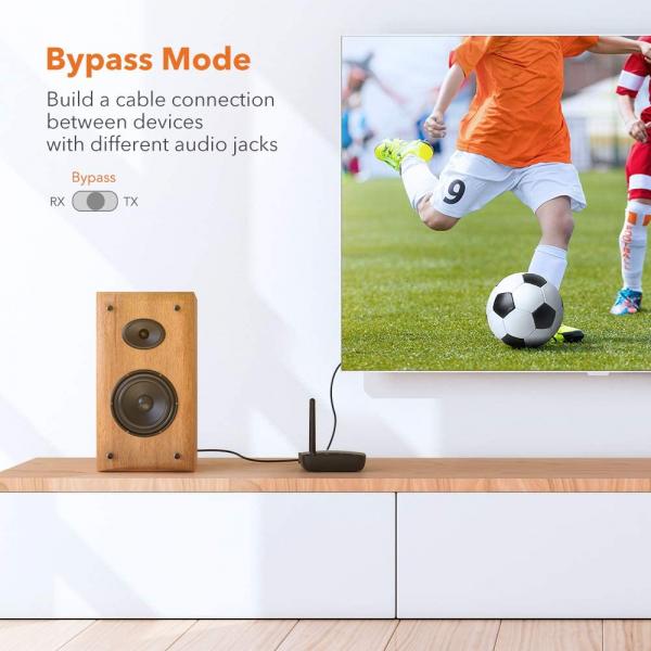 Adaptor Bluetooth Transmitator si Receptor Audio TaoTronics TT-BA014, Bluetooth 5.0, Cablu Optic & Jack 3.5mm, conectare 2 casti, aptX HD, 50m 3