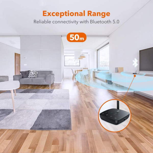 Adaptor Bluetooth Transmitator si Receptor Audio TaoTronics TT-BA014, Bluetooth 5.0, Cablu Optic & Jack 3.5mm, conectare 2 casti, aptX HD, 50m 4