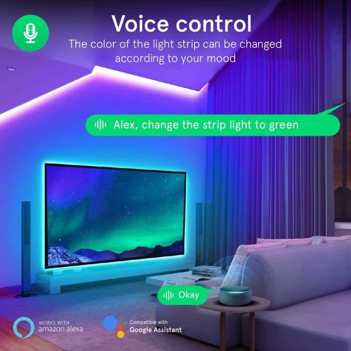 Banda LED Smart Nous F2 WiFi, 10 metri, Control APP [6]