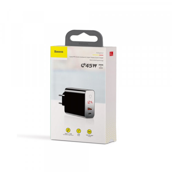 Baseus Incarcatorperete PPS QC USB + PD 45W Negru 6
