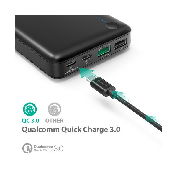 Baterie Externa RavPower 20100mAh 2 X USB + 1XUSB-C, Qualcomm QuickCharge QC3.0, model RP-PB043 8