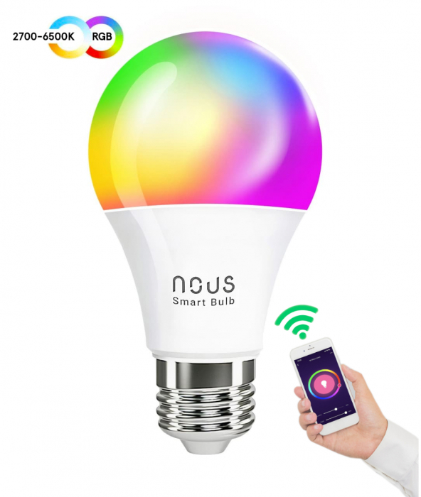 Bec LED RGB Smart NOUS P3, E27, Control din aplicatie 1