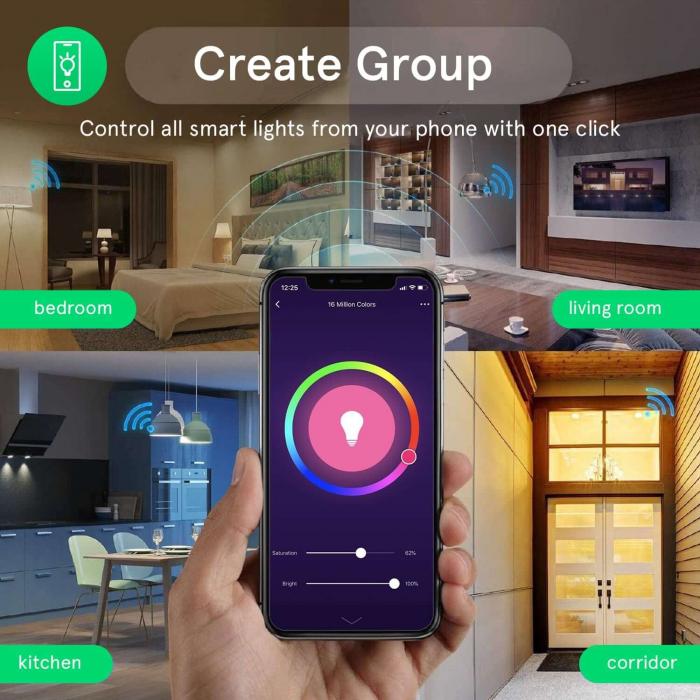 Bec LED RGB Smart NOUS P4, E14, Control din aplicatie 5