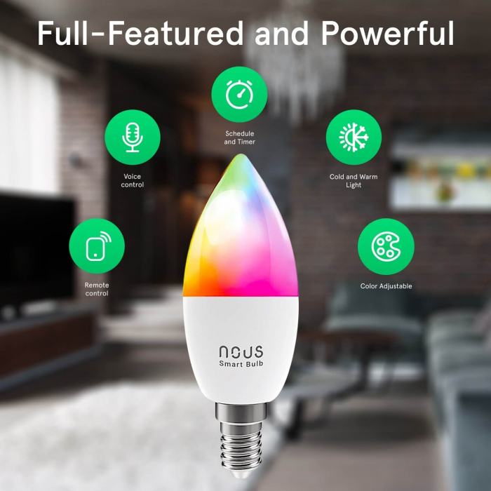 Bec LED RGB Smart NOUS P4, E14, Control din aplicatie 2