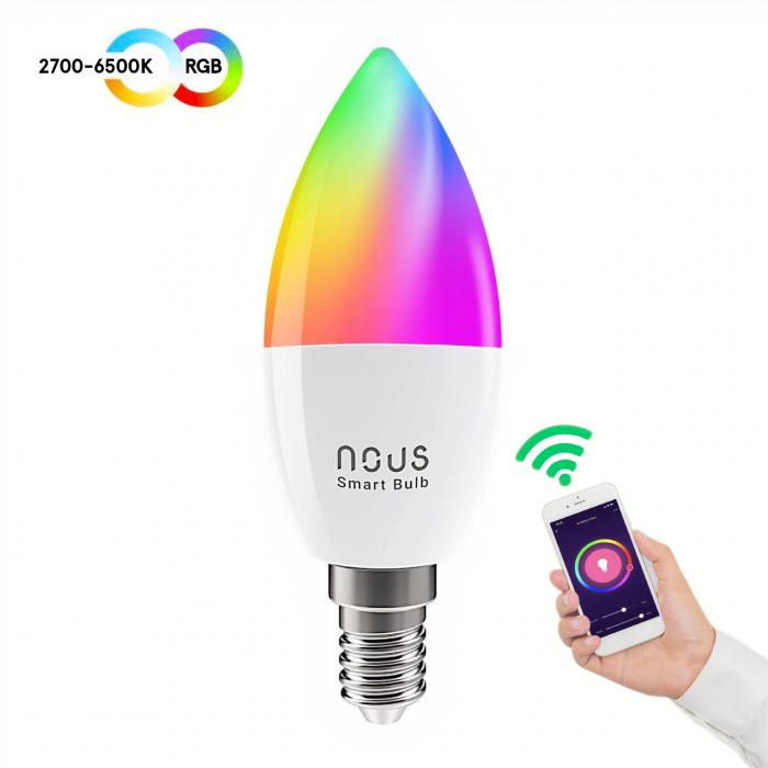 Bec LED RGB Smart NOUS P4, E14, Control din aplicatie 1