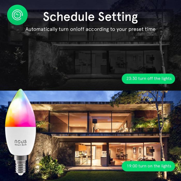 Bec LED RGB Smart NOUS P4, E14, Control din aplicatie 3