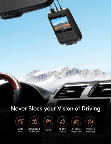 Camera auto DVR  Dubla Apeman C550, Full HD,  Bord si Spate, Unghi 170 grade, Detector miscare, WDR, G-Sensor, Mod parcare, Filmare in bucla [6]