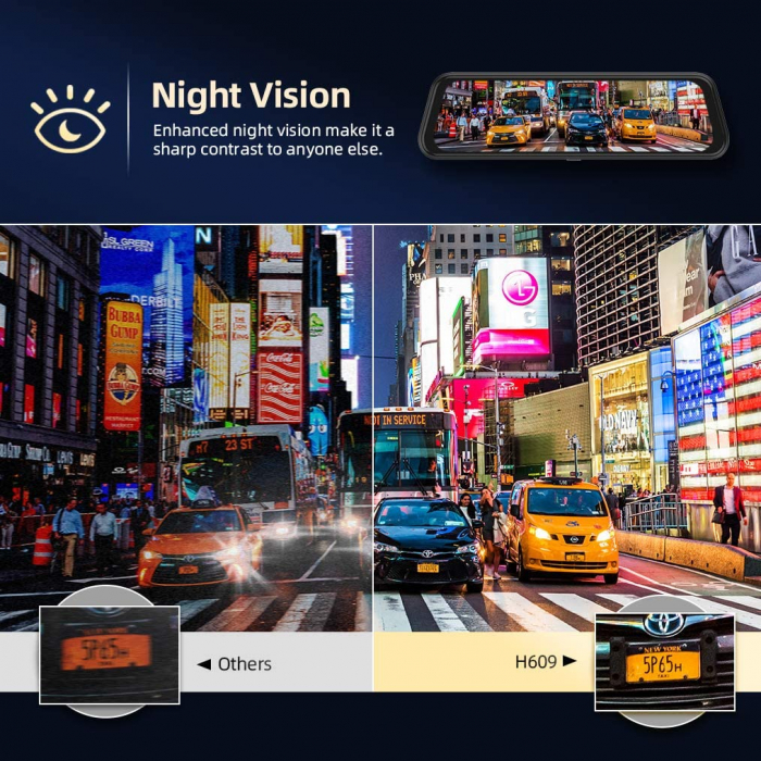 "Camera auto DVR Dubla Oglinda VanTop H609, FullHD, Bord si Spate, Touch-Screen, Unghi 170 grade, G Senzor, Display 10"" IPS 2"