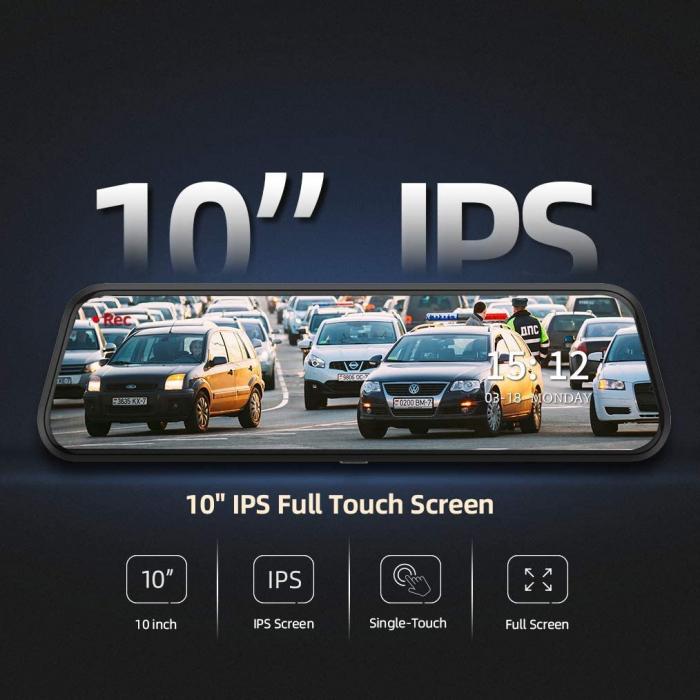 "Camera auto DVR Dubla Oglinda VanTop H609, FullHD, Bord si Spate, Touch-Screen, Unghi 170 grade, G Senzor, Display 10"" IPS 6"
