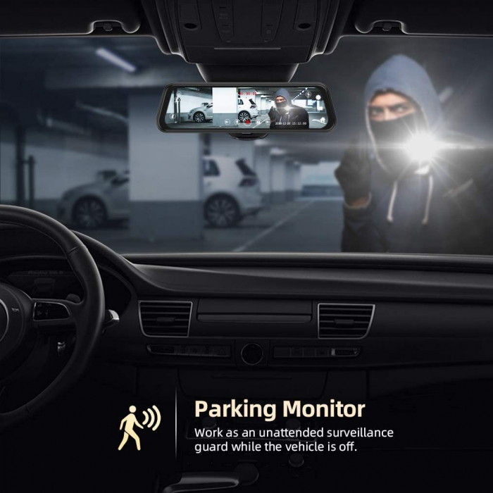 "Camera auto DVR Dubla Oglinda VanTop H609, FullHD, Bord si Spate, Touch-Screen, Unghi 170 grade, G Senzor, Display 10"" IPS 1"