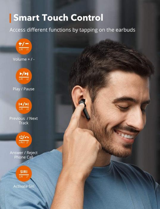 Casti audio In-Ear Taotronics SoundLiberty 92 , True Wireless, Bluetooth 5.0, TWS, Control Smart Touch USB-C, IPX6 [5]