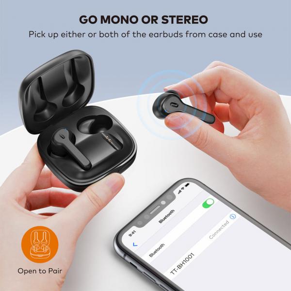 Casti audio In-Ear Taotronics TT-BH1001, True Wireless, Bluetooth 5.0, TWS  USB-C 3