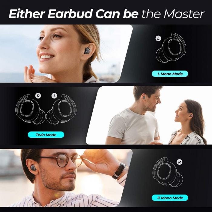 Casti audio In-Ear Mpow M30 TWS, Bas Clar, IPX8, 25 ore, USB-C, True Wireless, Bluetooth 5.0, TWS [7]
