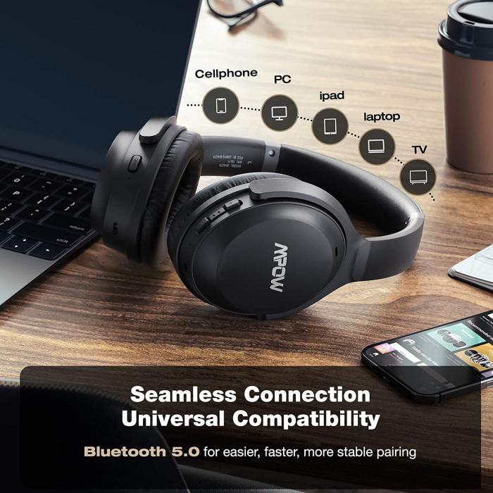 Casti audio Mpow H12 IPO, Active Noise Canceling, Bluetooth 5.0, USB-C, Bas puternic, Microfon CVC8.0, Autonomie 40 ore, True Wireless [7]