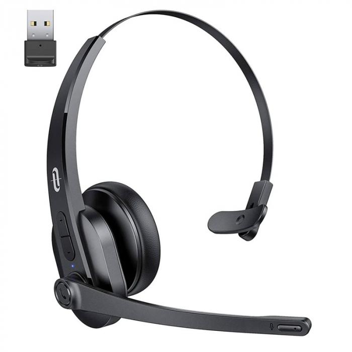 Casti wifi TaoTronics TT-BH041, Microfon, AI Noise Cancelling, Call Center, Bluetooth 5.0, functionare 34 ore, USB Bluetooth Dongle inclus [0]