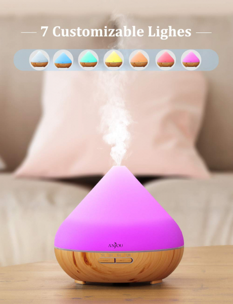 Difuzor aroma cu Ultrasunete Anjou AJ-AD001, 300ml, 13W, LED 7 culori, oprire automata - Nuc Natur [2]