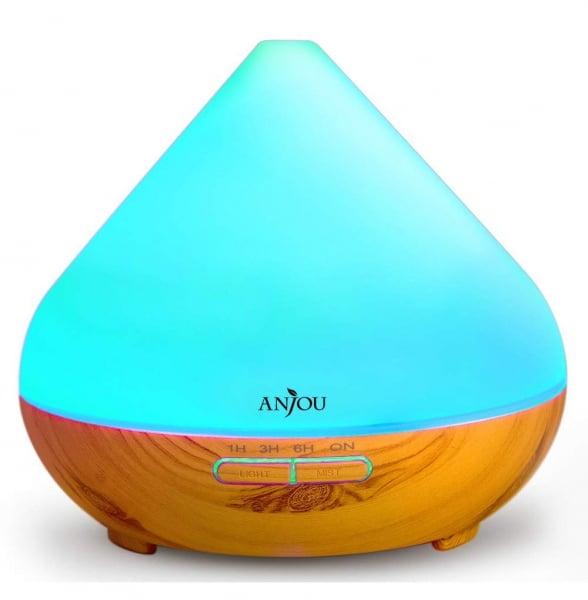 Difuzor aroma cu Ultrasunete Anjou AJ-AD001, 300ml, 13W, LED 7 culori, oprire automata - Nuc Natur 1