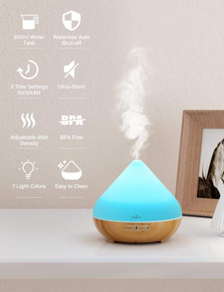 Difuzor aroma cu Ultrasunete Anjou AJ-AD001, 300ml, 13W, LED 7 culori, oprire automata - Nuc Natur 7