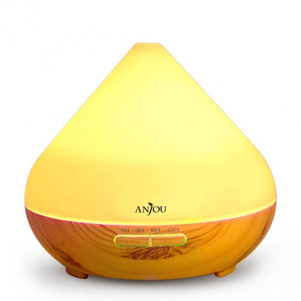Difuzor aroma cu Ultrasunete Anjou AJ-AD001, 300ml, 13W, LED 7 culori, oprire automata - Nuc Natur 0