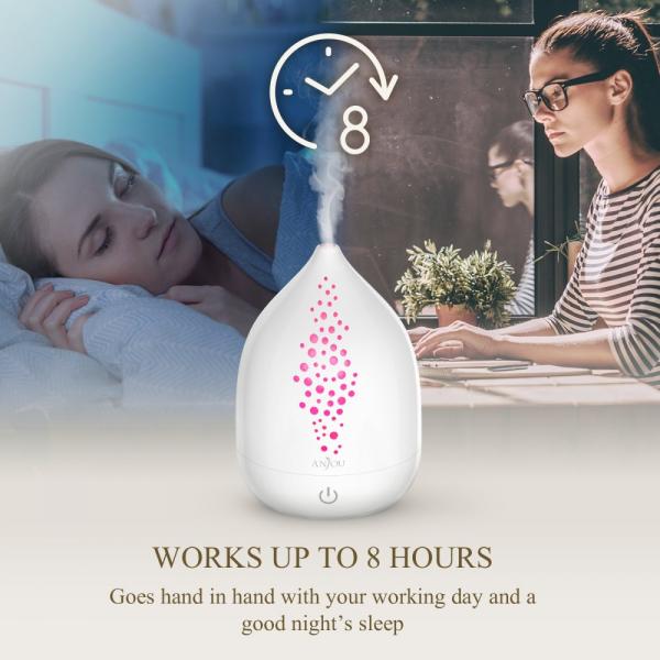 Difuzor aroma cu Ultrasunete Anjou AJ-AD006, 200ml, 13W, LED 7 culori, oprire automata - Alb [3]