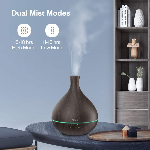 Difuzor aroma cu Ultrasunete Anjou AJ-AD012, 500ml, LED, oprire automata - Wenge 4