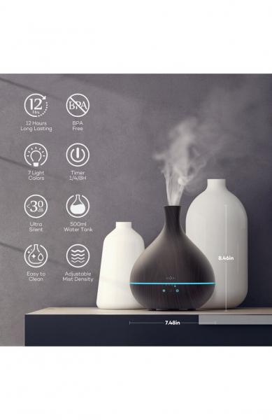 Difuzor aroma cu Ultrasunete Anjou AJ-AD012, 500ml, LED, oprire automata - Wenge 8
