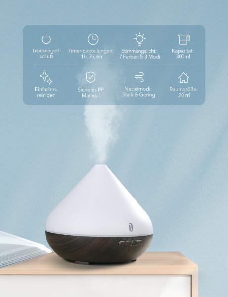 Difuzor aroma cu Ultrasunete TaoTronics TT-AD002, 300ml, 13W, LED 7 culori, oprire automata [3]