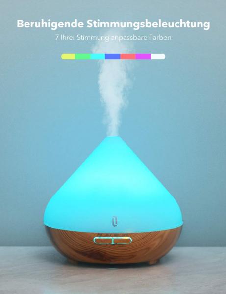 Difuzor aroma cu Ultrasunete TaoTronics TT-AD002, 300ml, 13W, LED 7 culori, oprire automata - Nuc natur 2